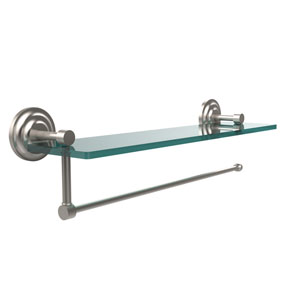 Prestige Que New Collection Paper Towel Holder with 16 Inch Glass Shelf, Satin Nickel