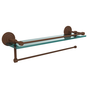 Prestige Que New Collection Paper Towel Holder with 22 Inch Gallery Glass Shelf, Antique Bronze