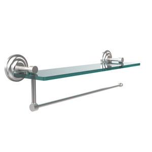 Prestige Que New Collection Paper Towel Holder with 22 Inch Glass Shelf, Satin Chrome