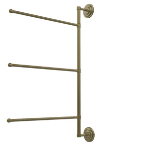Prestige Que New Collection 3 Swing Arm Vertical 28 Inch Towel Bar, Antique Brass
