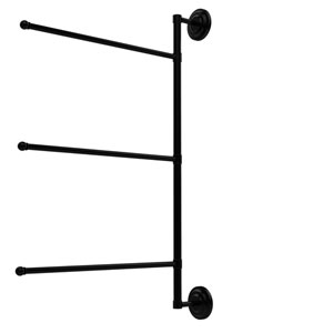 Prestige Que New Collection 3 Swing Arm Vertical 28 Inch Towel Bar, Matte Black
