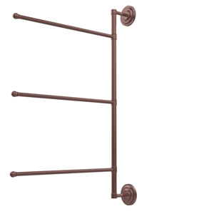 Prestige Que New Collection 3 Swing Arm Vertical 28 Inch Towel Bar, Antique Copper