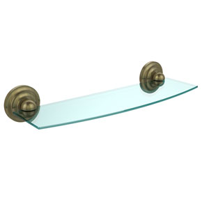 Prestige Que New Collection 18 Inch Glass Shelf, Antique Brass