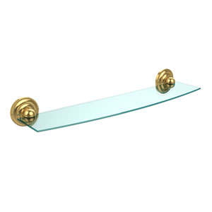 Prestige Que New Collection 24 Inch Glass Shelf, Unlacquered Brass