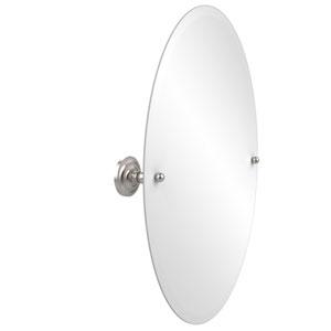 Frameless Oval Tilt Mirror with Beveled Edge, Satin Nickel