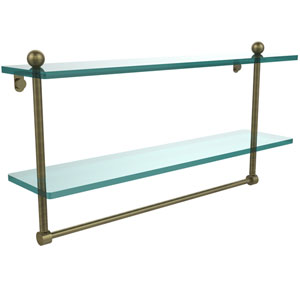 22 Inch Two Tiered Glass Shelf with Integrated Towel Bar, Antique Brass