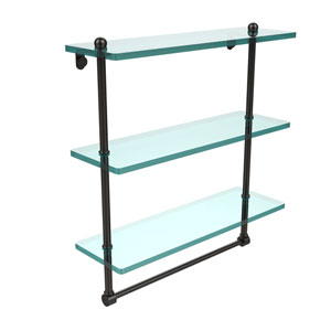 16 Inch Triple Tiered Glass Shelf with Integrated Towel Bar, Oil Rubbed Bronze
