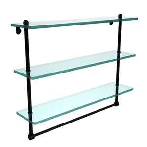 22 Inch Triple Tiered Glass Shelf with Integrated Towel Bar, Matte Black