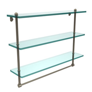 22 Inch Triple Tiered Glass Shelf with Integrated Towel Bar, Antique Pewter