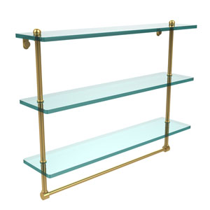 22 Inch Triple Tiered Glass Shelf with Integrated Towel Bar, Unlacquered Brass