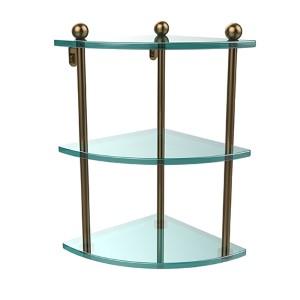 Brushed Bronze Triple Corner Glass Shelf