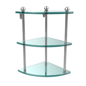 Prestige Regal Polished Chrome Triple Glass Corner Shelf