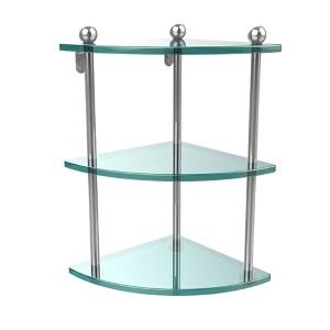 Prestige Regal Polished Chrome Triple Glass Corner Shelf