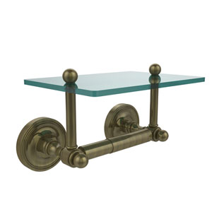 Prestige Regal Collection Two Post Toilet Tissue Holder with Glass Shelf, Antique Brass