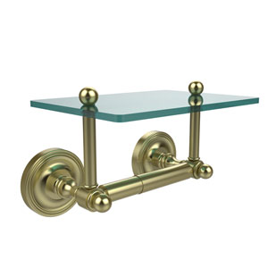 Prestige Regal Collection Two Post Toilet Tissue Holder with Glass Shelf, Satin Brass