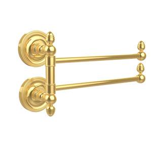 Prestige Regal Collection 2 Swing Arm Towel Rail, Unlacquered Brass