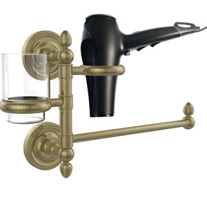 Prestige Regal Collection Hair Dryer Holder and Organizer, Antique Brass