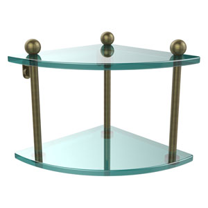 Antique Brass Double Corner Glass Shelf