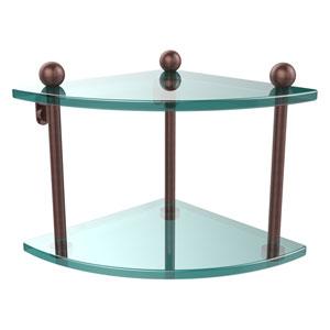 Antique Copper Double Corner Glass Shelf