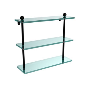 Matte Black 16 x 5 Triple Glass Shelf