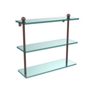 Antique Copper 16 x 5 Triple Glass Shelf