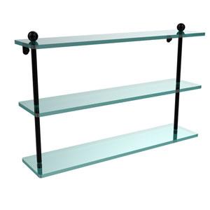 Matte Black 22 Inch Triple Glass Shelf