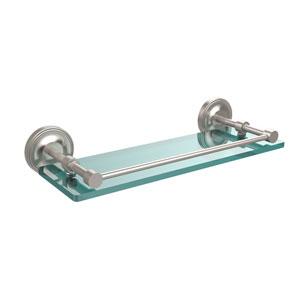 Prestige Regal 16 Inch Tempered Glass Shelf with Gallery Rail, Satin Nickel