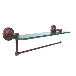 Prestige Regal Collection Paper Towel Holder with 16 Inch Glass Shelf, Antique Copper