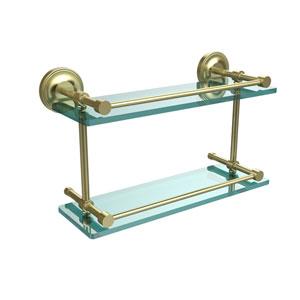 Prestige Regal 16 Inch Double Glass Shelf with Gallery Rail, Satin Brass