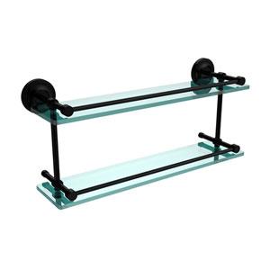 Prestige Regal 22 Inch Double Glass Shelf with Gallery Rail, Matte Black