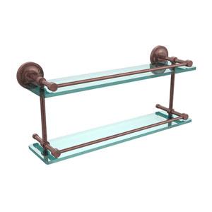 Prestige Regal 22 Inch Double Glass Shelf with Gallery Rail, Antique Copper