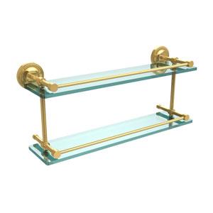 Prestige Regal 22 Inch Double Glass Shelf with Gallery Rail, Polished Brass