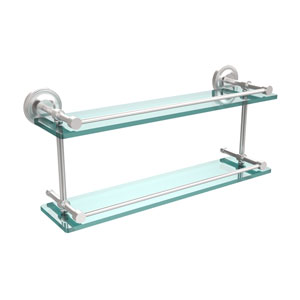 Prestige Regal 22 Inch Double Glass Shelf with Gallery Rail, Satin Chrome