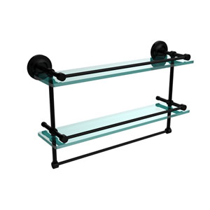 22 Inch Gallery Double Glass Shelf with Towel Bar, Matte Black