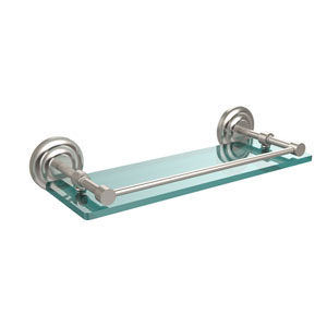 Que New 16 Inch Tempered Glass Shelf with Gallery Rail, Satin Nickel