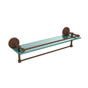 22 Inch Gallery Glass Shelf with Towel Bar, Antique Bronze