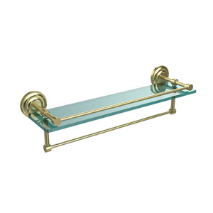 22 Inch Gallery Glass Shelf with Towel Bar, Satin Brass