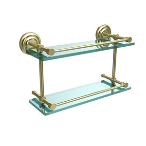Que New 16 Inch Double Glass Shelf with Gallery Rail, Satin Brass