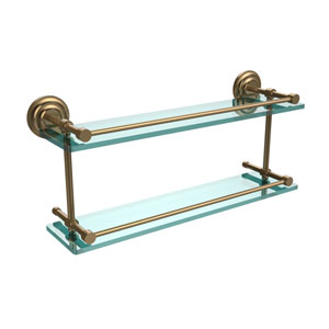Que New 22 Inch Double Glass Shelf with Gallery Rail, Brushed Bronze