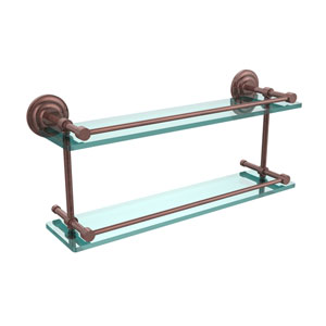 Que New 22 Inch Double Glass Shelf with Gallery Rail, Antique Copper