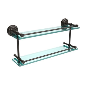 Que New 22 Inch Double Glass Shelf with Gallery Rail, Oil Rubbed Bronze