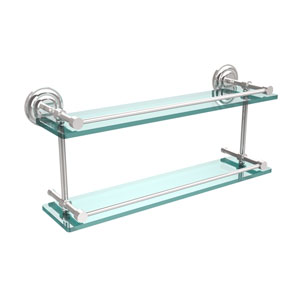 Que New 22 Inch Double Glass Shelf with Gallery Rail, Polished Chrome