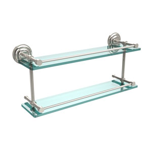 Que New 22 Inch Double Glass Shelf with Gallery Rail, Polished Nickel