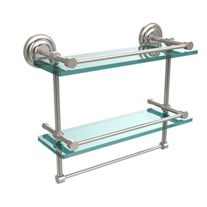 16 Inch Gallery Double Glass Shelf with Towel Bar, Satin Nickel