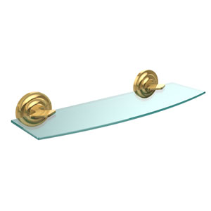 Que New Collection 18 Inch Glass Shelf, Polished Brass