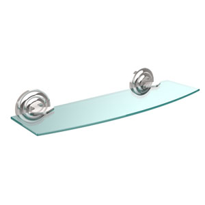 Que New Collection 18 Inch Glass Shelf, Polished Chrome