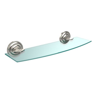 Que New Collection 18 Inch Glass Shelf, Polished Nickel