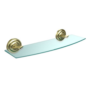 Que New Collection 18 Inch Glass Shelf, Satin Brass