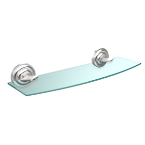 Que New Collection 18 Inch Glass Shelf, Satin Chrome