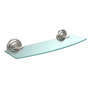 Que New Collection 18 Inch Glass Shelf, Satin Nickel